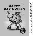 a vintage happy halloween...   Shutterstock .eps vector #2041802936