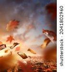fall season. autumn background...   Shutterstock . vector #2041802960