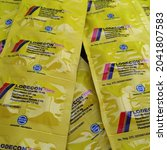 Small photo of Blitar, Indonesia - September 15, 2021 : LODECON FORTE is a drug used to treat flu symptoms such as fever, headache, nasal congestion, sneezing accompanied by a cough without phlegm.