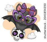 cute cartoon bat with sun... | Shutterstock .eps vector #2041854350