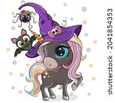 greeting halloween card cute... | Shutterstock .eps vector #2041854353
