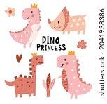 princess dinosaur poster. cute... | Shutterstock .eps vector #2041938386