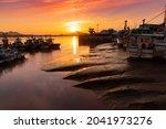 Beautiful Sunset And Tide Sea...