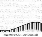 piano keyboard against faded... | Shutterstock .eps vector #204203830