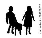 vector silhouette of children...   Shutterstock .eps vector #204203896