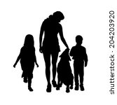 vector silhouette of a family... | Shutterstock .eps vector #204203920