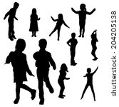 vector silhouette of children... | Shutterstock .eps vector #204205138