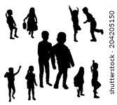 vector silhouette of children... | Shutterstock .eps vector #204205150