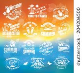 set of summer design elements...   Shutterstock .eps vector #204206500
