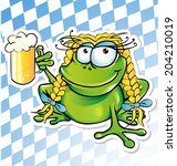 Funny Frog Cartoon  With Beer...