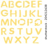 yellow vector alphabet letters  | Shutterstock .eps vector #204212638