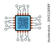computer motherboard circuit...   Shutterstock .eps vector #2042128589