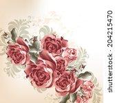 vector cute flowers in vintage... | Shutterstock .eps vector #204215470