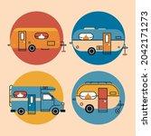 four recreational vehicles set... | Shutterstock .eps vector #2042171273