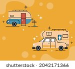 two recreational vehicles set... | Shutterstock .eps vector #2042171366