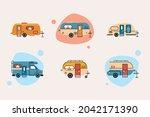 six recreational vehicles set... | Shutterstock .eps vector #2042171390