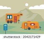 recreational vehicles in the... | Shutterstock .eps vector #2042171429