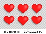 set of big red hearts isolated...   Shutterstock .eps vector #2042212550