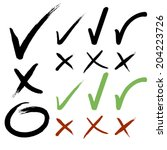 hand drawn check mark buttons.... | Shutterstock .eps vector #204223726