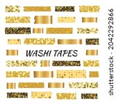 gold washi tape strips or washy ...   Shutterstock .eps vector #2042292866