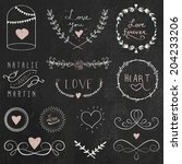 chalkboard doodle hand drawn... | Shutterstock .eps vector #204233206