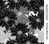 black and white floral pattern... | Shutterstock .eps vector #204233596