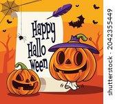 happy halloween. jack o lantern ...   Shutterstock .eps vector #2042355449
