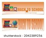 bookshelf with textbooks. back...   Shutterstock .eps vector #2042389256