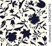 plain floral drawing.... | Shutterstock .eps vector #2042418743