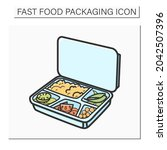 lunchbox color icon.container... | Shutterstock .eps vector #2042507396