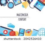 multimedia content symbol group ... | Shutterstock .eps vector #2042526410