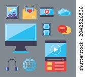 multimedia content symbol... | Shutterstock .eps vector #2042526536
