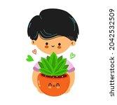 cute funny boy hold indoor...   Shutterstock .eps vector #2042532509