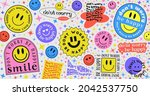 don't worry be happy abstract... | Shutterstock .eps vector #2042537750