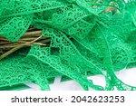 Green Lace Ribbon. Thick...