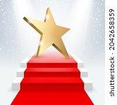 golden 3d star with golden 3d... | Shutterstock .eps vector #2042658359
