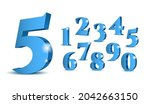 blue 3d numbers. symbol set.... | Shutterstock .eps vector #2042663150