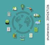 vector set of  flat ecology...   Shutterstock .eps vector #204267136