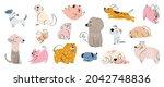cute dogs doodle vector set.... | Shutterstock .eps vector #2042748836