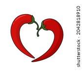 vector art food icon chilli... | Shutterstock . vector #2042818910