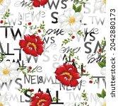 vector flower seamless pattern... | Shutterstock .eps vector #2042880173