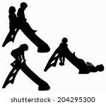 children silhouettes   Shutterstock .eps vector #204295300