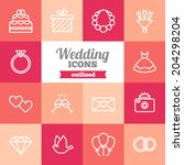 set of flat wedding icons | Shutterstock .eps vector #204298204