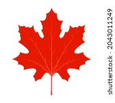 leaf red maple maple vector... | Shutterstock .eps vector #2043011249