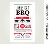 barbecue party invitation. bbq...   Shutterstock .eps vector #204306880