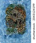 grunge watercolor illustration...   Shutterstock . vector #2043124199