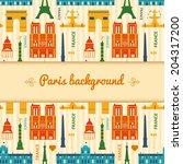 landmarks of france  vector... | Shutterstock .eps vector #204317200