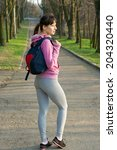 beautiful sporty fit woman with ... | Shutterstock . vector #204320440