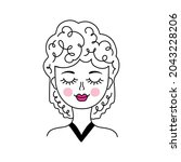 woman face in doodle style on... | Shutterstock .eps vector #2043228206
