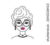 woman face in doodle style on... | Shutterstock .eps vector #2043228413